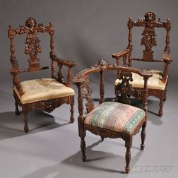 Three Renaissance Revival Carved Chairs