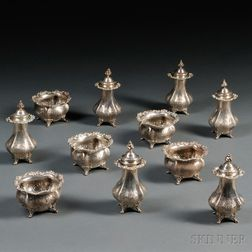 Six Sterling Silver Pepper Shakers and Five Salt Cellars