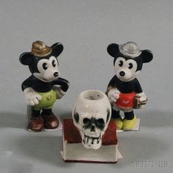 Three Japanese Bisque Porcelain Figures
