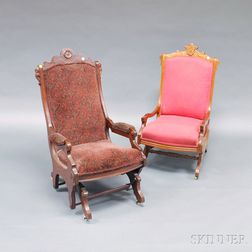 Two Victorian Renaissance Revival Upholstered Walnut Rockers