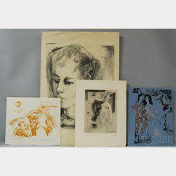 Georges Lambert (French, 1919-1998)      Four Prints:   Jeune Homme ,  Petit Cirque ,  Mexican et Ane