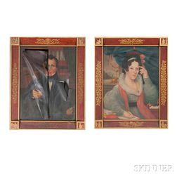 American School, Early 19th Century      Pair of Portraits of a Gentleman and Lady in Neoclassical Settings
