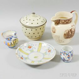 Five Ceramic Tableware Items
