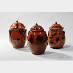Three Manganese-decorated New England Covered Redware Jars
