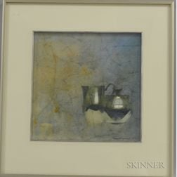 Thomas Sgouros (American, 1927-2012)      Still Life with the Fitzgerald Pewter III