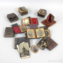 Small Group of Mostly Cased Early Tintypes and Ambrotypes.     Estimate $200-400