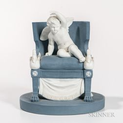 Sevres Blue and White Hard Paste Biscuit Porcelain Figure