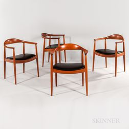 "Four Hans J. Wegner for Johannes Hansen ""The Chair"" Armchairs"