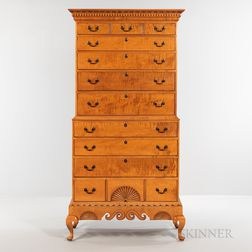 Queen Anne-style Dunlap School-type Carved Tiger Maple Chest-on-chest on Frame
