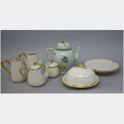 Seven-Piece Lenox Gilt Porcelain Partial Tea Set and an Adams Calyx Ware Teapot.