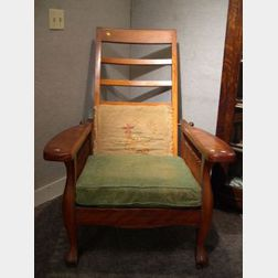 Late Victorian Birch Spindle-sided Adjustable Morris Chair.
