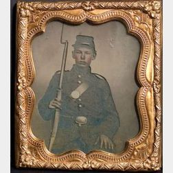 Ambrotype Portrait of a Young Union Soldier in Uniform with Rifle.