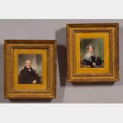 Thomas Seir Cummings  (American, 1804 - 1894)    Pair of Portrait Miniatures of Dr. and Mrs. Embury.