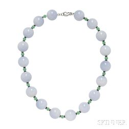 18kt White Gold, Chalcedony, Chrysoprase, and Onyx Necklace, Carvin French