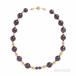 14kt Gold and Amethyst Bead Necklace