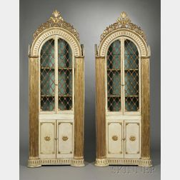 Pair of Italian Neoclassical Cream and Gold Painted Dome-top Library Cabinets