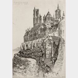 John Taylor Arms (American, 1887-1953)      Two Architectural Views:  Notre Dame de Laòn