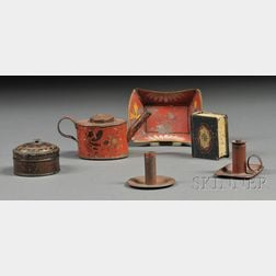 Six Miniature Paint-decorated Tinware Household Items