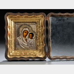 Russian Icon of Virgin Mother and Christ Child with a Gilt-silver Riza