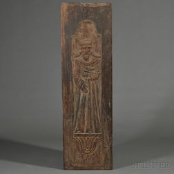 Carved Wood Door Panel Depicting St. Francis of Assisi