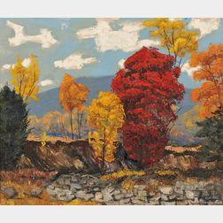 Stanley Bate (American, 1903-1972)      Autumn Landscape