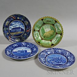 Four Staffordshire Transfer-decorated Plates