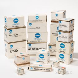Collection of New-in-box Minolta Cameras and Lenses