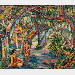 Jerome Blum (American, 1884-1956)      Trees Near the Sea