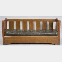 L. & J. G. Stickley Oak Settle with Trundle Bed