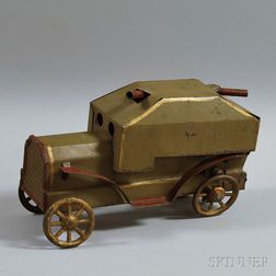 Vintage Dayton Pressed Steel Friction-driven Military Gun Truck