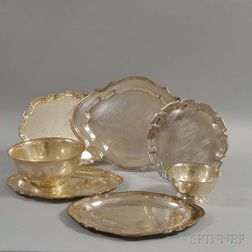 Two Sterling Silver Revere Reproduction Bowls and Five Silver-plated Trays