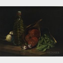 Adam Emory Albright (American, 1862-1957)      Still Life with Pickle Bottle, Tomato, and Peas