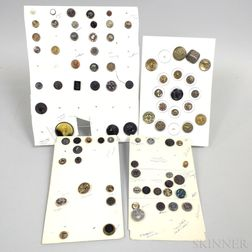 Small Group of Mostly Molded Thermoplastic and Metal Buttons.     Estimate $100-200