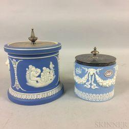 Two Wedgwood Jasper Biscuit Jars