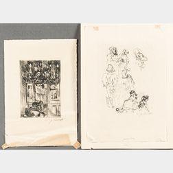 Lovis Corinth (German, 1858-1925)      Two Prints: Skizzen (Sketch)