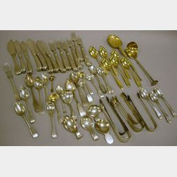 Thirty-seven Pieces of Sterling Silver Flatware and Fourteen Pieces of Assorted   Coin, .800 Fine and Other Silver Flatware