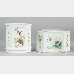 Two Chinese Famille Rose Shaped Porcelain Planters