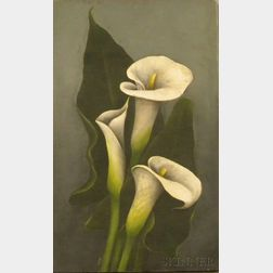 Unframed Oil on Canvas of Calla Lilies