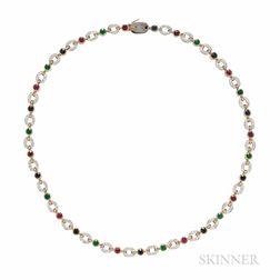 Suite of Two 18kt Gold Gem-set Necklaces