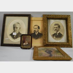 Lot of Five Framed Portraits of Theodore Winthrop Robinson Sr., Snelling Robinson, Edgar Robinson, Mary Potter of Evanston, Illinois...
