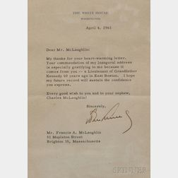 Kennedy, John Fitzgerald (1917-1963) Typed Letter Signed, April 4, 1961.