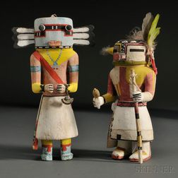Two Hopi Polychrome Carved Wood Kachina