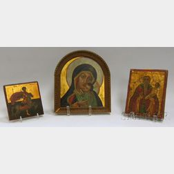 Three Gilt and Painted Christian Orthodox Icons