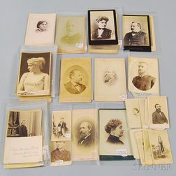 Group of Cabinet Cards, Depicting Presidents, Political Figures, Writers, Literary   Figures, and Actors