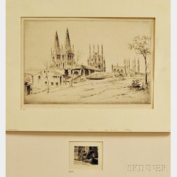 John Taylor Arms (American, 1887-1953)      Two Unframed Etchings:   Burgos