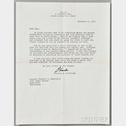 Lindbergh, Charles (1902-1974) Typed Letter Signed, 9 November 1971.