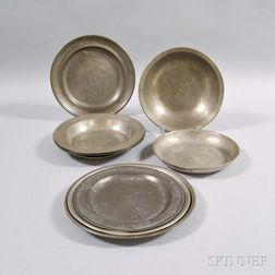 Nine Continental Pewter Tableware Items