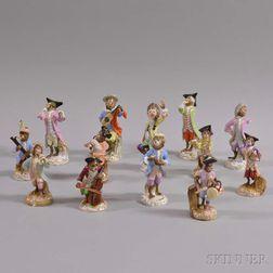 Thirteen Continental Porcelain Monkey Band Figures