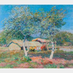 Enrique Larrañaga (Argentine, 1900-1956)      Pastoral Landscape with Thatched Structure, Flowers, and Trees