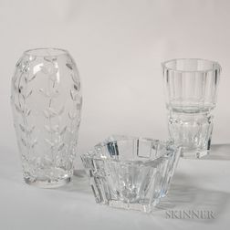 Tiffany, Baccarat, and Orrefors Crystal Vases